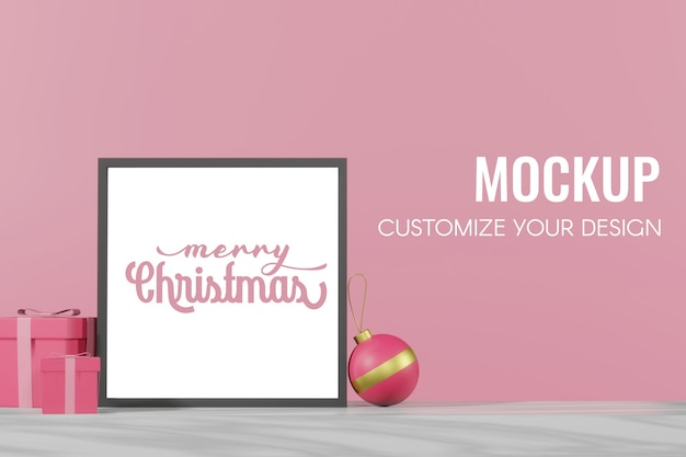 3d rendering of christmas empty template podium mockup for product placement