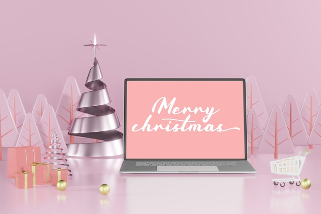 3d rendering christmas laptop mockup for product placement