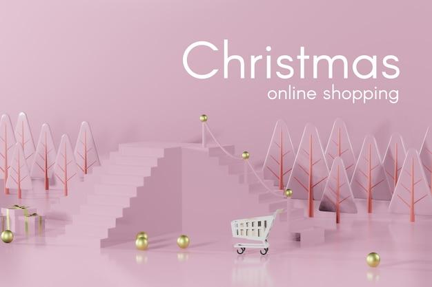 제품 배치를위한 3d 렌더링 크리스마스 연단 모형