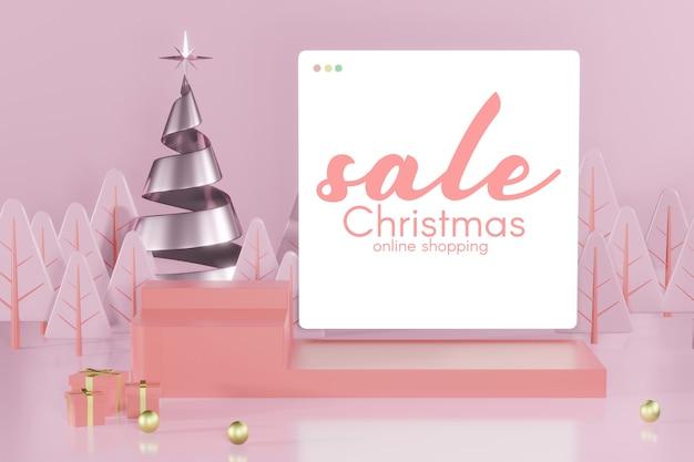 3d-рендеринг макета рождественского подиума для размещения продукта