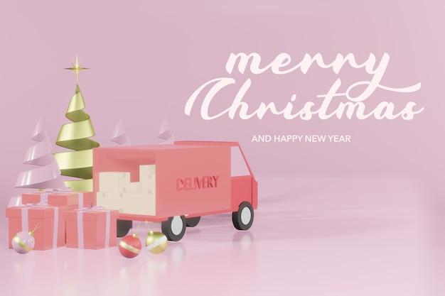 3d-рендеринг макета рождественского подиума интернет-магазины