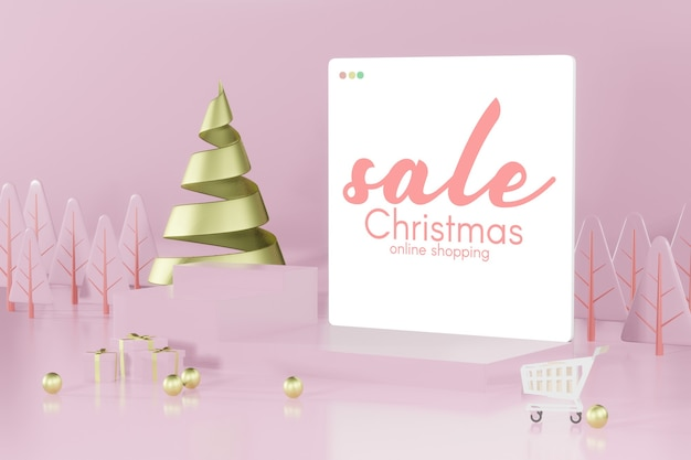 3d rendering christmas podium mockup for product placement
