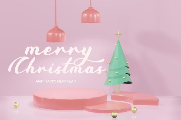 3d-рендеринг рождественского подиума макет