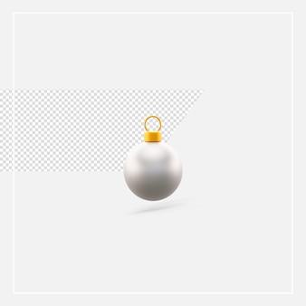 3d рендеринг рождественский серебряный шар изолирован