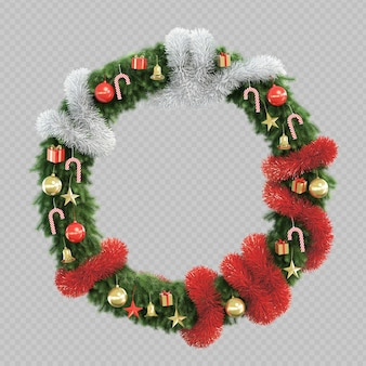 3d rendering of christmas tree circle frame