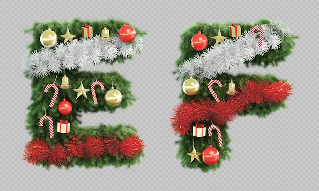 3d rendering of christmas tree letter e and letter f