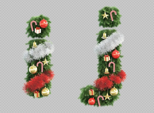 3d rendering of christmas tree letter i and letter j