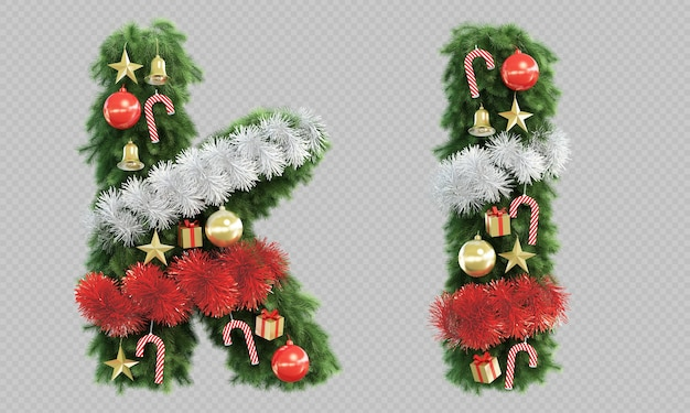 3d rendering of christmas tree letter k and letter l