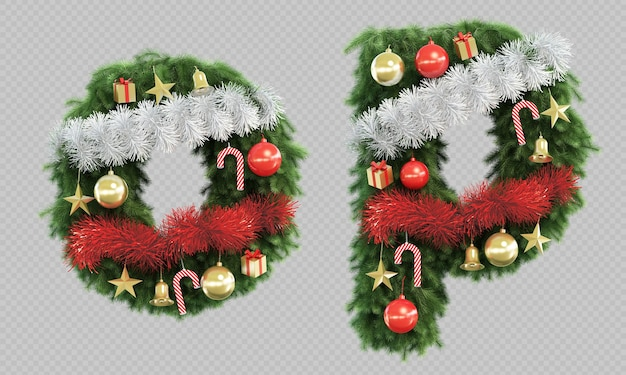 3d rendering of christmas tree letter o and letter p