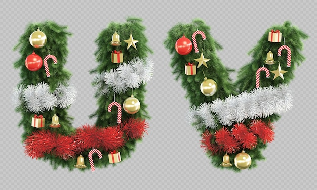 3d rendering of christmas tree letter u and letter v