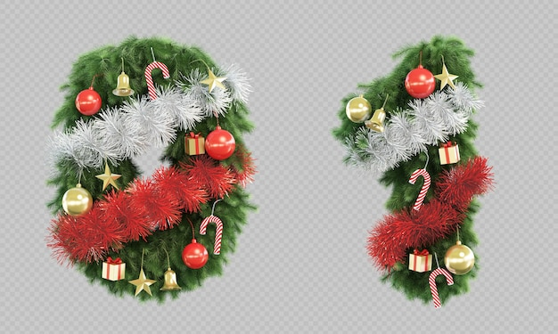 3d rendering of christmas tree number 0 and number 1