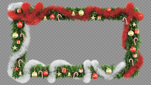 3d rendering of christmas tree rectangle frame