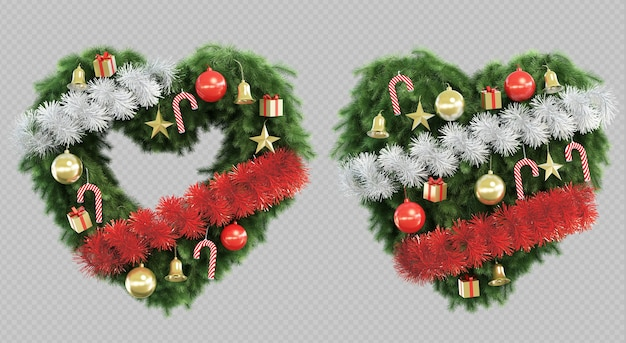 3d rendering of christmas tree in shape of heart