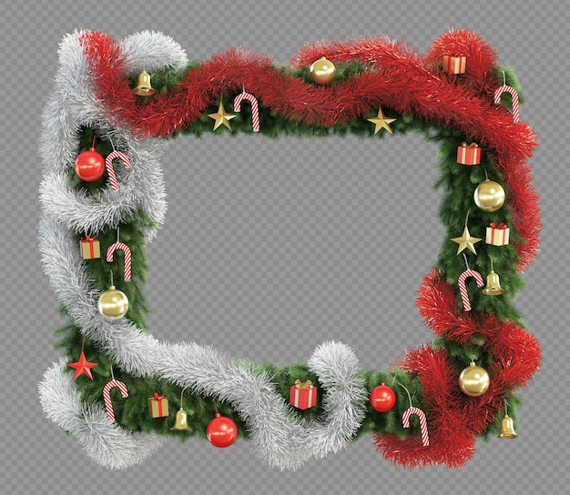 3d rendering of christmas tree square frame
