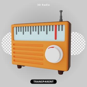 3d rendering classic radio illustration