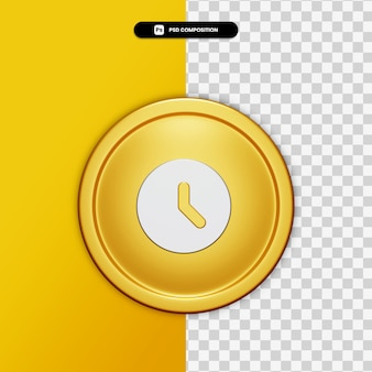 3d rendering clock icon on golden circle isolated