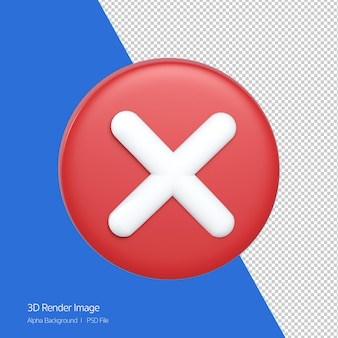 3d rendering of close icon x sign isolated on white.