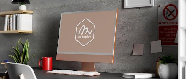 3d 렌더링 컴퓨터 모형과 사무실 책상의 뷰를 닫습니다