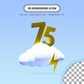 Значок облака 3d рендеринга с дизайном значка грома и числа 75