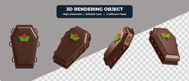 4つの異なるポーズと編集可能な色の3dレンダリング棺アイコン