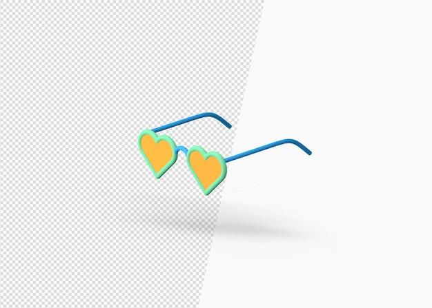 3d рендеринг красочных летних солнцезащитных очков в стиле любви