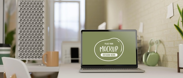 3d-рендеринг, удобное рабочее место с принадлежностями для ноутбука и украшениями в домашнем офисе