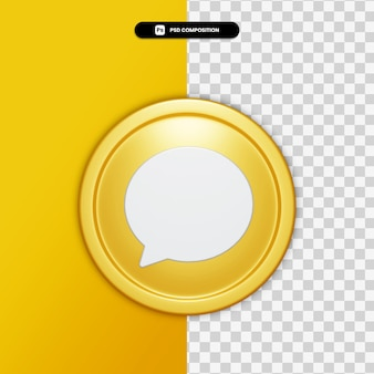 3d rendering comment icon on golden circle isolated