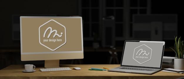 Компьютер и ноутбук для 3d-рендеринга с макетным экраном