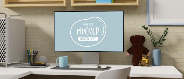 3d rendering of computer device mockup screen