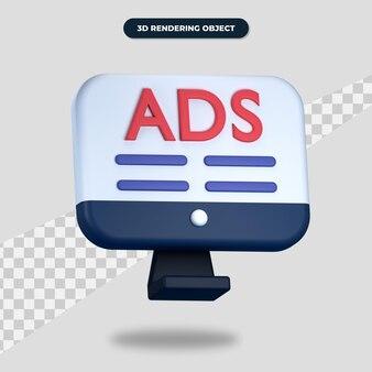 画面上のテキスト広告と3dレンダリングコンピュータアイコン