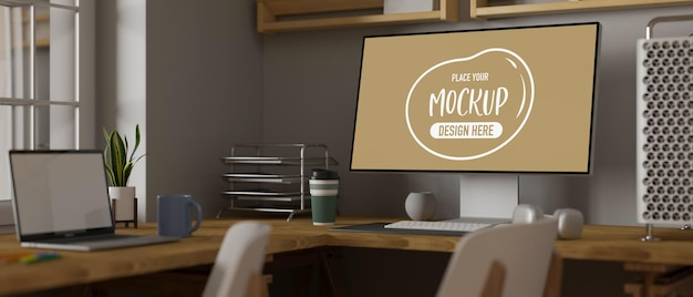 3d rendering computer and laptop with mockup screen