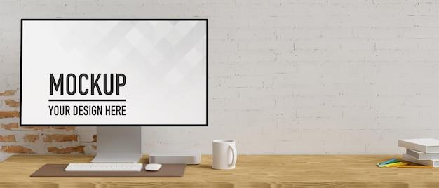 3d-рендеринг компьютерного монитора с макетом экрана