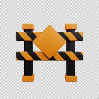 3d rendering concept construction icon blockade road