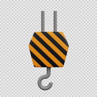 3d рендеринг концепции строительства значок крюк шкив