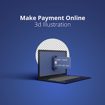 3d rendering concept credit cards are coming out of laptop for make online payment