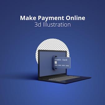 3dレンダリングコンセプトのクレジットカードがmakeonline支払いのためにラップトップから出てきています