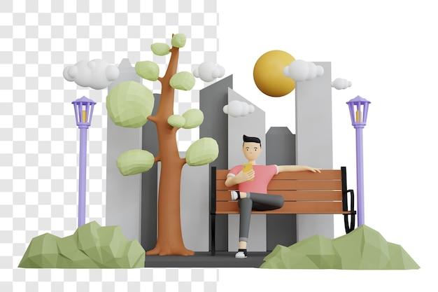 공원에서 편안한 남자의 3d 렌더링 개념