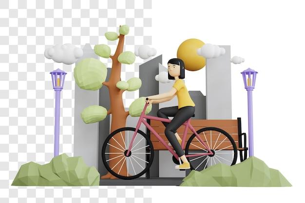 도시 공원에서 자전거를 타는 여자의 3d 렌더링 개념