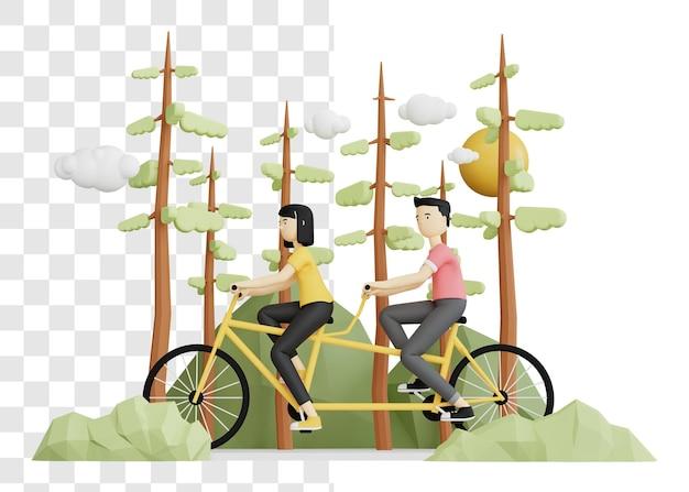 여자와 남자가 함께 자전거를 타고의 3d 렌더링 개념