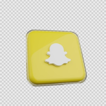 3d 렌더링 개념 소셜 미디어 아이콘 snapchat
