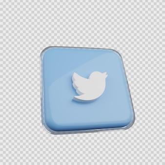 3d 렌더링 개념 소셜 미디어 아이콘 트위터