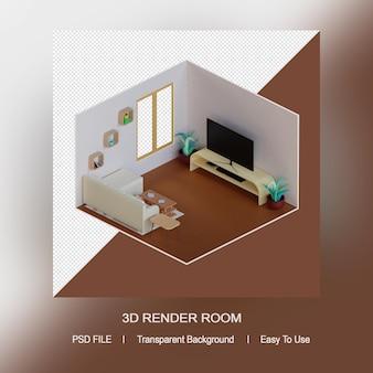 아이소 메트릭 거실 디자인의 3d 렌더링 개념 템플릿