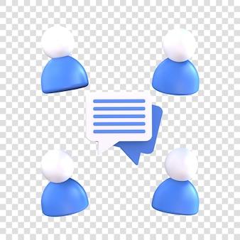 Значок конференции 3d-рендеринга, поговорите посередине с четырьмя людьми вокруг
