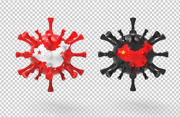 3d rendering corona virus with textured map of china