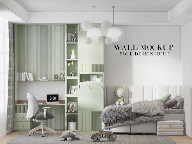 3d rendering cozy child room wall mockup