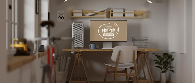 3d rendering of cozy office room with computer mockup