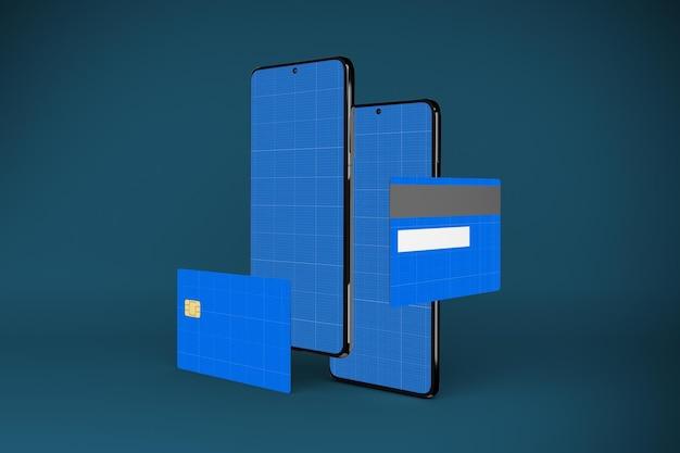 3d rendering of credit card app mockup