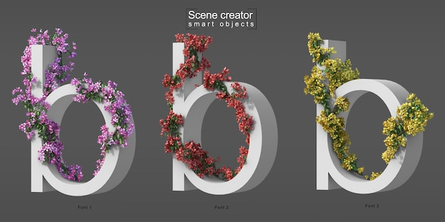 3d rendering of creeping bougainvillea on alphabet b