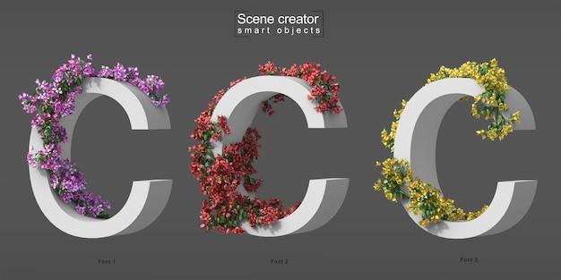 3d rendering of creeping bougainvillea on alphabet c
