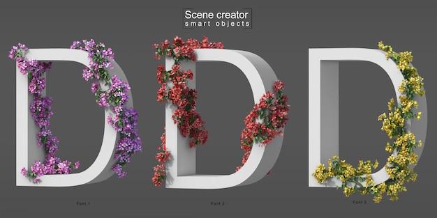 3d rendering of creeping bougainvillea on alphabet d